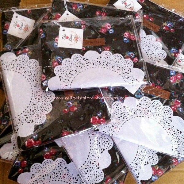 Doilies wraps, black flowery pouches