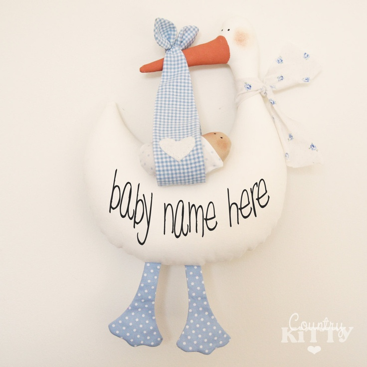 Stork softie newborn decoration - Fiocco nascita cicogna - customisable name - baby boy - blue.