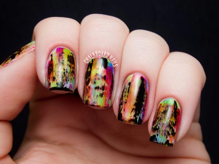 Punky Neon Grunge Nail Art | Chalkboard Nails