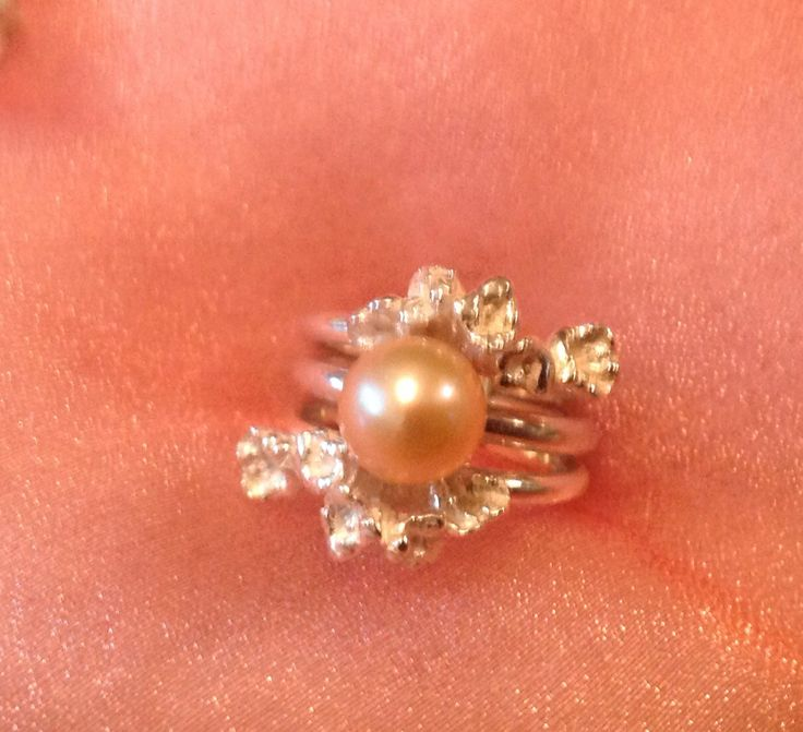 "Blush Oval Pearl Ring with Two Sterling Asymmetrical  ""Bouquet"" Rings"