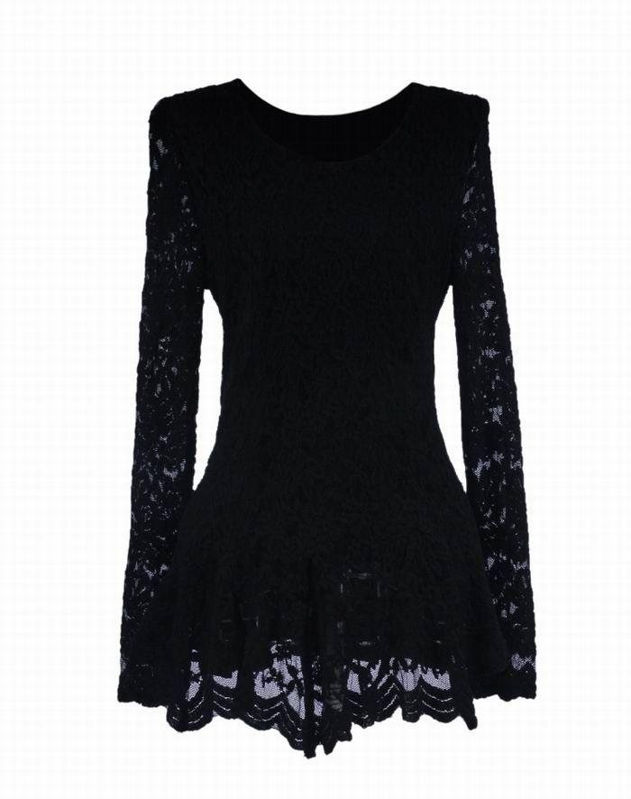 Elegant Ruffle Lace Splicing Long Sleeve Women's BlouseBlouses | RoseGal.com