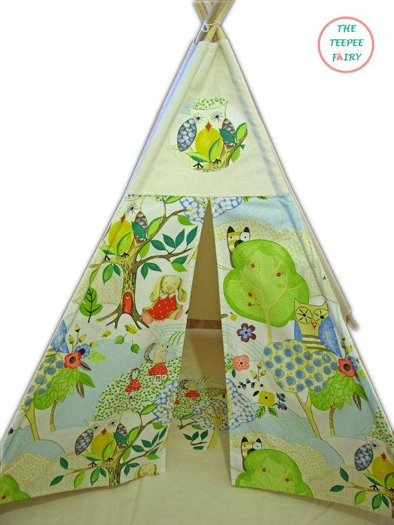 Teepee Teepee Play Tent Kids Teepee Woodlands by TheTeepeeFairy