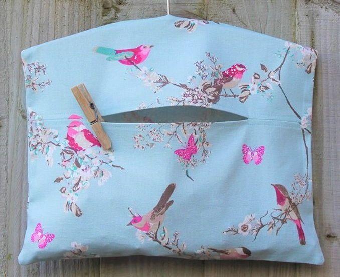 Laundry Peg Bag With Birds & Blossom Print Fabric