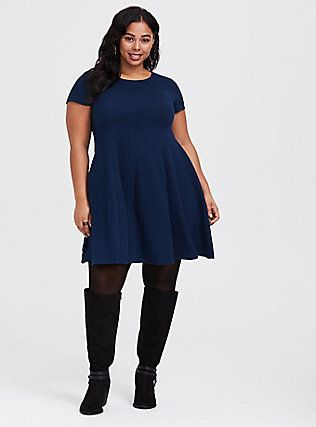 Navy Blue Sweater Dresses for Women Plus Sizes