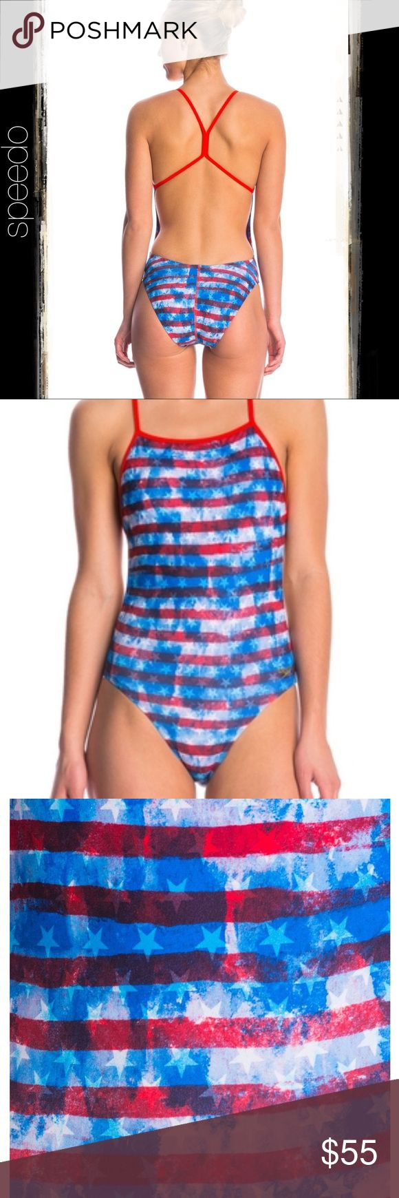 Speedo Red White and Blue One Piece SZ 34/8 (NWT) One piece swimsuit. Allover patriotic print with solid straps and binding. One Back:       - Open, low back for maximum, natural flexibility.       - Thin, streamlined straps for a comfortable fit. Speedo logo at wearer's left hip.  Fabric: Speedo's longest lasting suit, now 10% lighter. All the same benefits of Endurance+. Chlorine-resistant durability. Four-way stretch comfort. Resists bagging, fading, sagging, and snagging. 51% PBT, 49%…