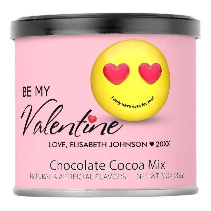 Be My Valentine Emoji with Heart Eyes - Drink Mix - Saint Valentine's Day gift idea couple love girlfriend boyfriend design