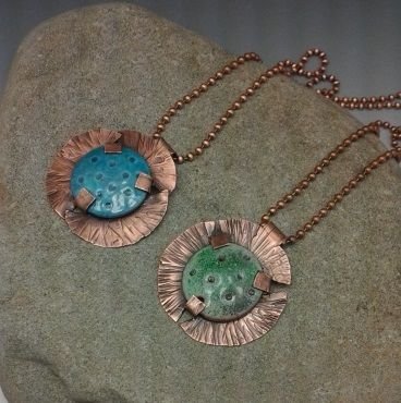 WAY cute tabbed pendant with enameled beads. By Delia Stone!