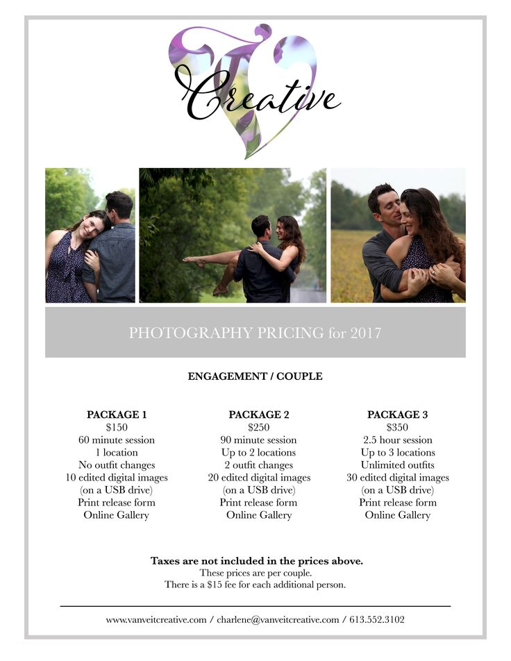 Engagement or Couple Photography Pricing Template Van Veit Creative