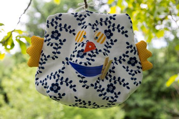 white blue Peg Bag Owl Clothespin-Bag OWL with by Sunchildsews