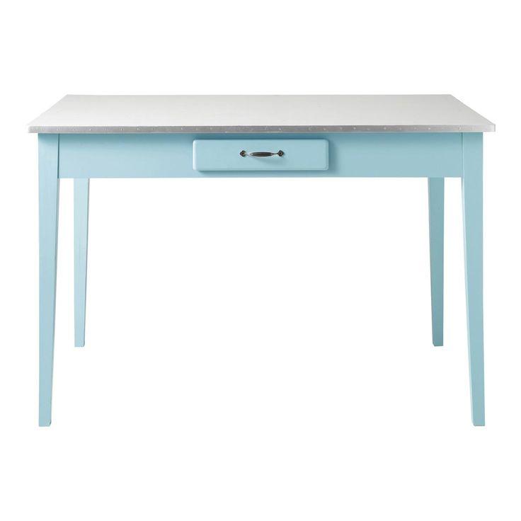 Table de salle à manger en bois blanche L 120 cm Kitchen