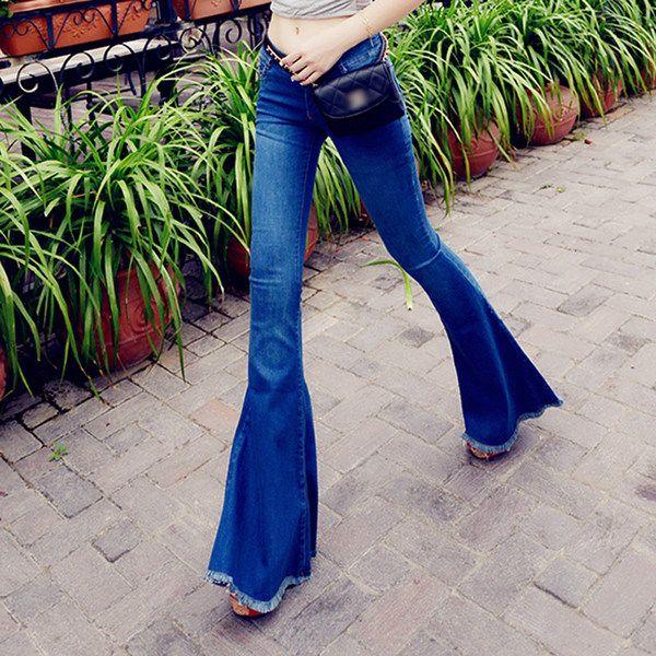 Небольшой осанку дома 2016 весна Новая Европа и Америка низкая-талия сексуальный брюки приталенный был тонкий бахромой по краям джинсы-клеш