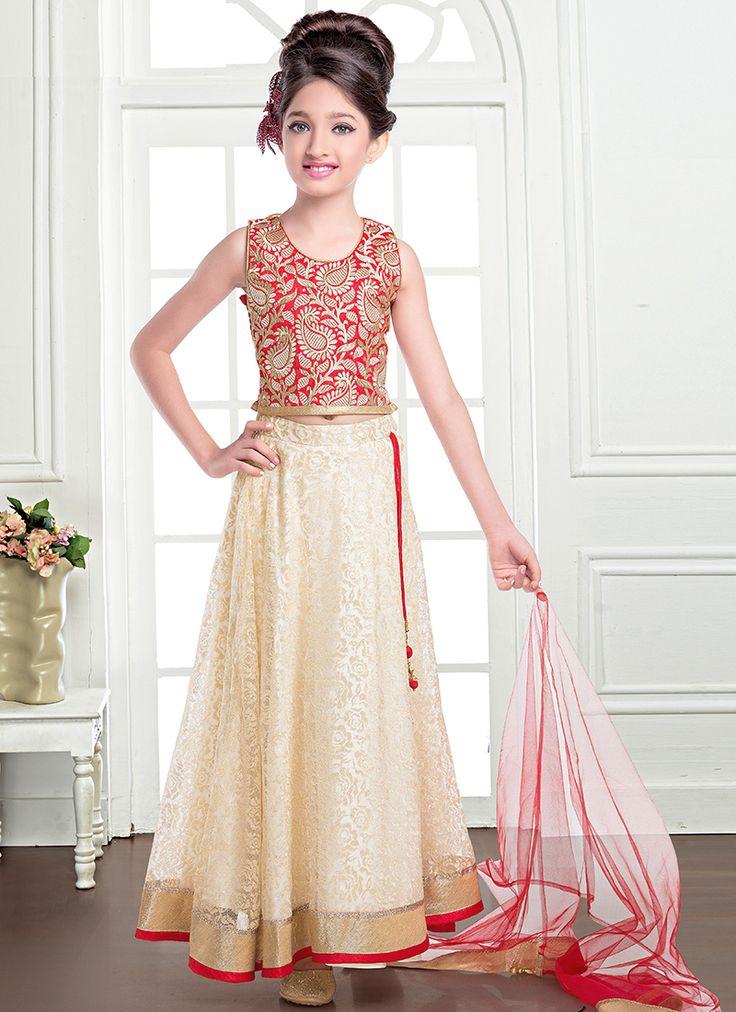 Girlish Cream And Red Jacquard Designer Kids Lehenga Choli