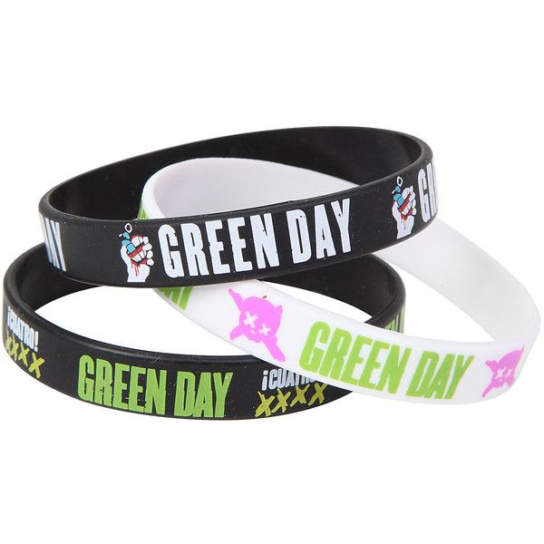 Green Day American Idiot Rubber Bracelet Set Hot Topic ($15) ❤ liked on Polyvore featuring jewelry, bracelets, rubber jewelry, green jewelry, green bangles, american jewelry and rubber bangles
