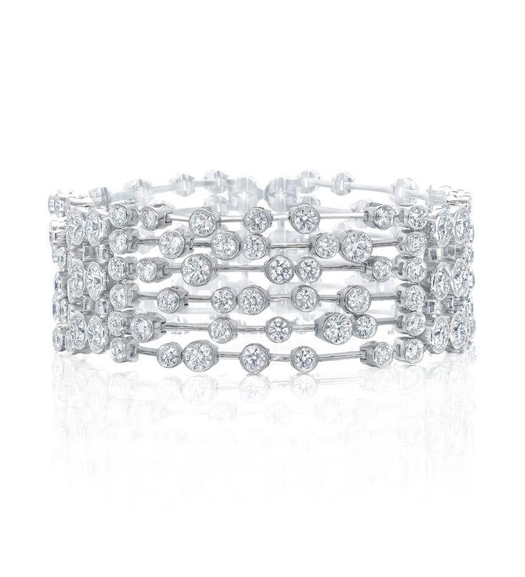 <p>A vibrant, glistening bracelet from Boodles' Raindance Anniversary collection</p> <ul> <li>Set with 144 round-brilliant cut diamonds</li> <li>With six rows of diamonds</li> <li>In platinum</li> </ul> <p>Length: 7.5 inches (approx.).</p>