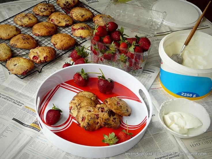mijn dagelijkse gedachten: Strawberry and Chocolate Cookies / Печенье с Клубникой и Шоколадом