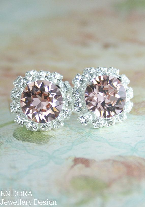 Blush pink crystal earrings | Blush pink wedding | blush pink bridesmaid earrings | #EndoraJewellery