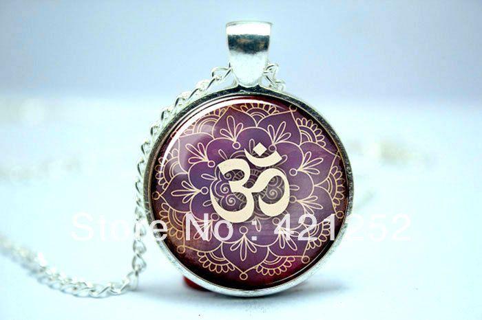 Ом ожерелье, Намасте йога ювелирные изделия, Лотоса дзэн кулон стекло кабошон ожерелье