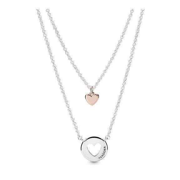 Layered Heart Necklace Pandora Rose Pandora Necklaces Pandora Mall Of America Pandora Necklace Pandora Jewelry Heart Necklace