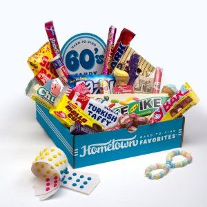 this looks yummy too: 60s retro candy: turkish taffy, mike and ike, candy necklaces, chuckles, necco wafers. Cool that they still make this stuff! $34.99