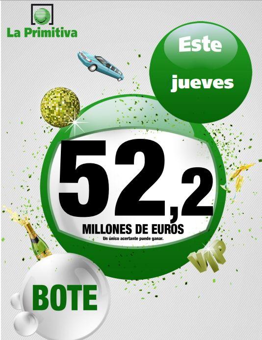 Primitiva, Bote, 52.2 Millones €, Jueves 27/06/2013