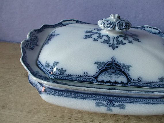 antique flow blue toureen casserole dish with lid by ShoponSherman, $125.00
