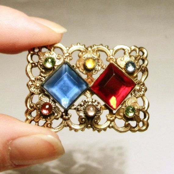 1930s Czech Brooch Bohemia Rhinestone Colourful Vintage Gold Filigree Floral Coloured Glass