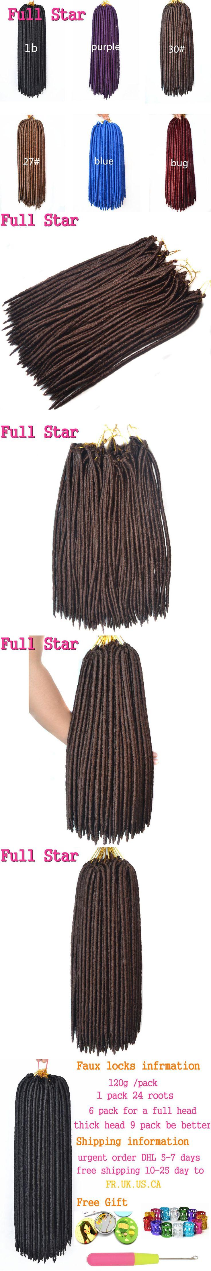 "Full Star 1pcs 24 Strands 18"" 14"" Crochet Braids Hair High Temperature Fiber synthetic Black Purple Bug Crochet dreadlocks hair"
