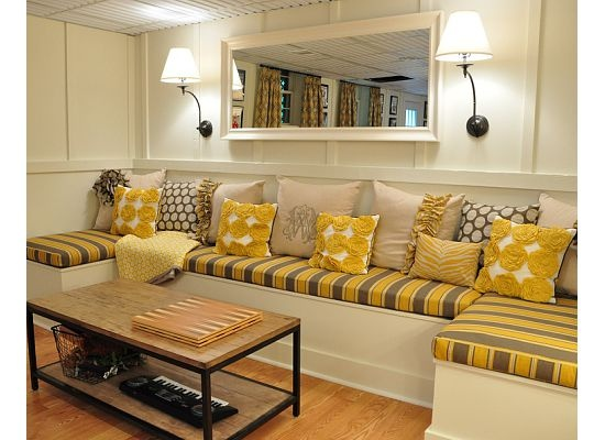 Like the walls & lamps for the garage conversion, substitute yellow for light purple & do purple beach theme