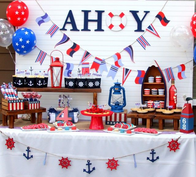 Best 25 nautical party ideas on pinterest nautical for Anchor decoration party