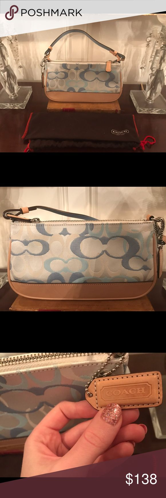 Brand New Coach Limited Edition Pochette - Blue Brand new, never used limited edition pochette by Coach. No marks, no flaws. Inside is absolutely clean. Serial number on inside leather tag. Comes with original dust bag. Coach Bags
