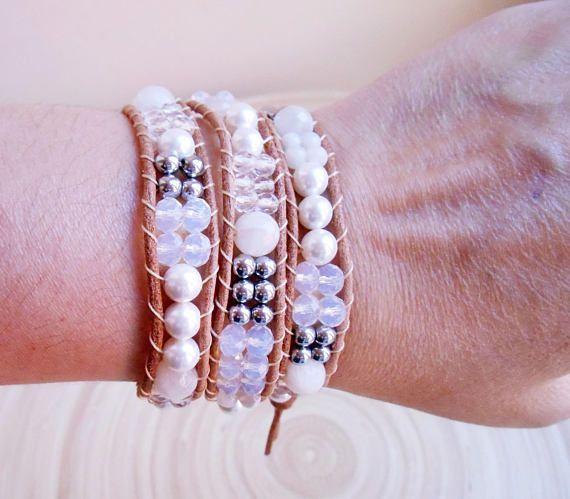 Darlene white leather beaded triple wrap bracelet chan luu