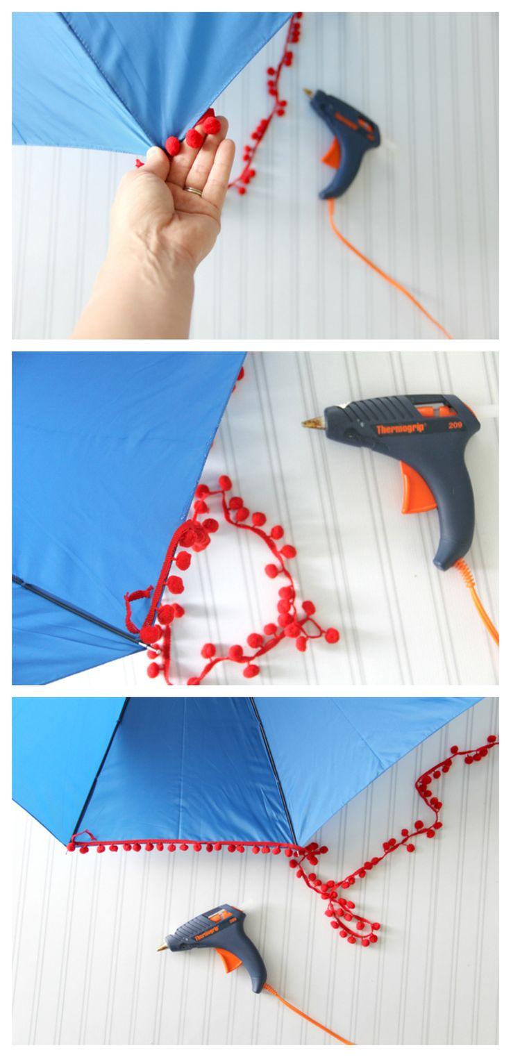 adicionar pompons para o seu guarda-chuva para um divertimento, guarnição decorativa!