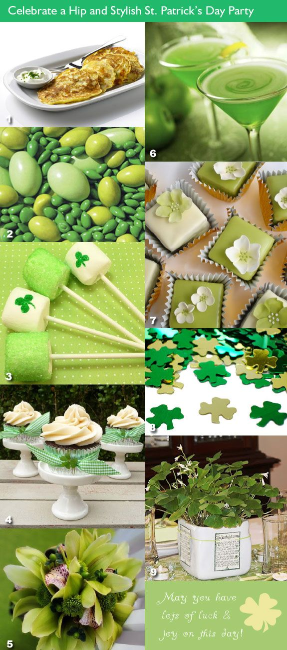 St. Patrick's Day wedding party - food, drinks, desserts, candies, favor ideas.  #stpatrickswedding #stpatricksbridalshower