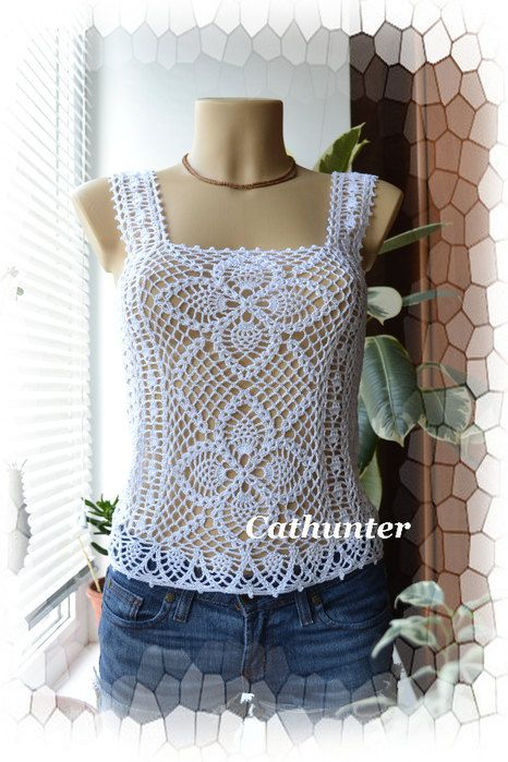 crochet summer top pattern pdf and made to order by marifu6a, $3.99