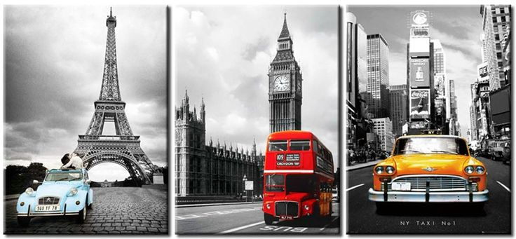 NYC and Paris Eiffel Tower Big Ben Car London Double Decker Red Bus Ready to Hang Wall Art print mounted on Fiberboard Canvas 3 Panel Set/better than stretched canvas/Size: 12x16x1¡±(each panel)X3Panels