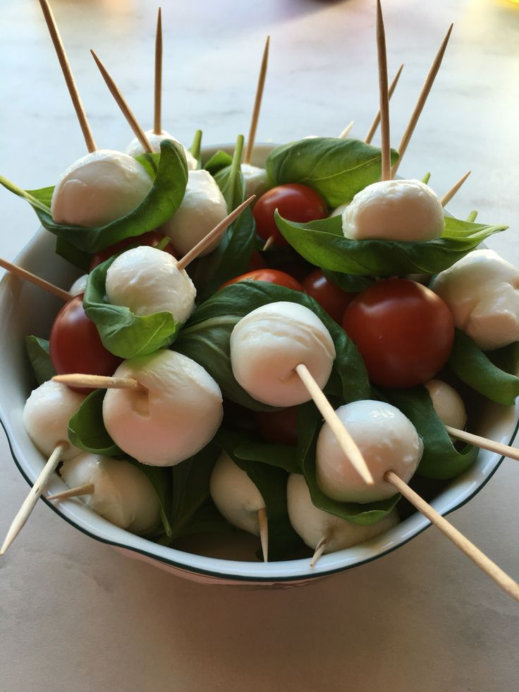 Appetizers  Mozzarella basilica and cherry tomatoes