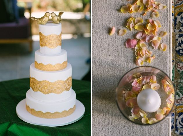 White and gold wedding cake with intricate golden lace and love birds topper. Rustic wedding details in Kefalonia. Photos by Adrian Wood