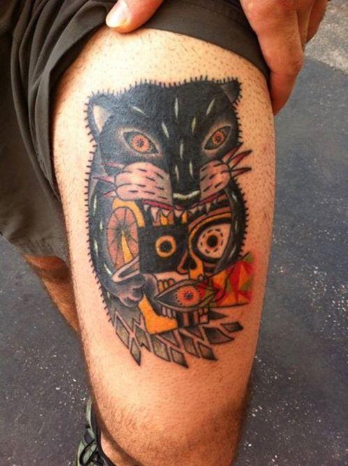 Outline Lion Leg Tattoo For Men