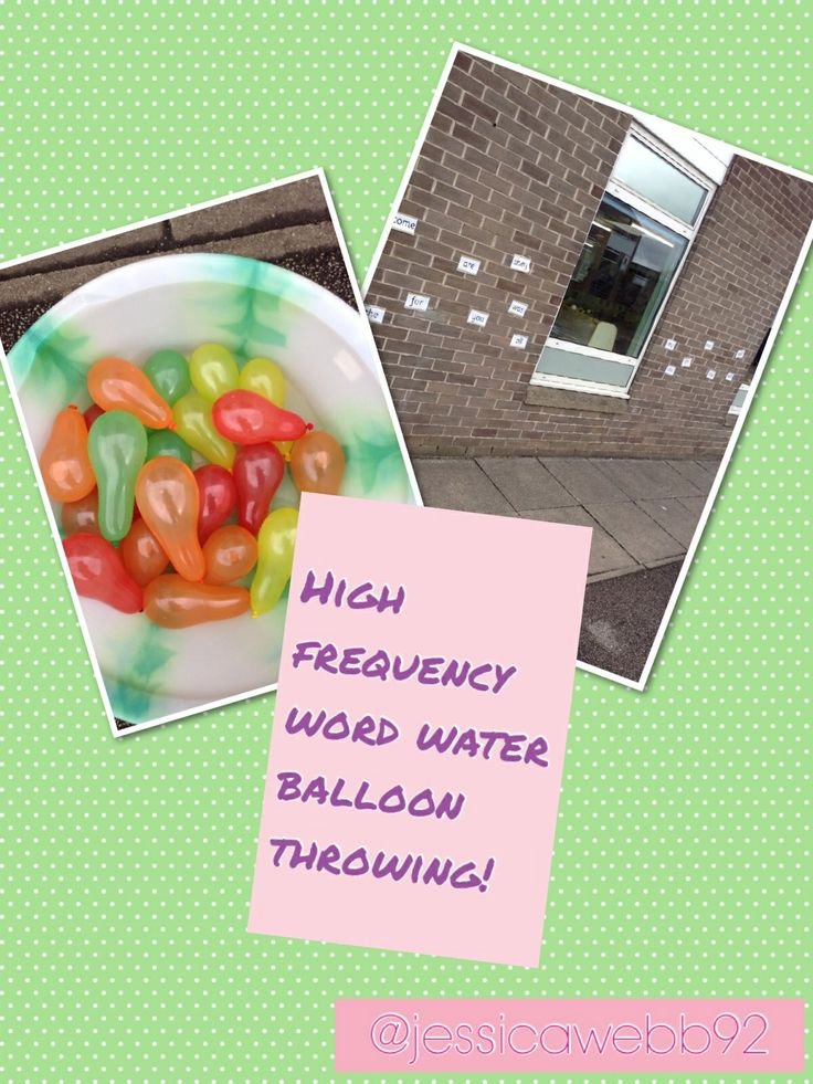 Throwing water balloons at words! SO much fun! EYFS