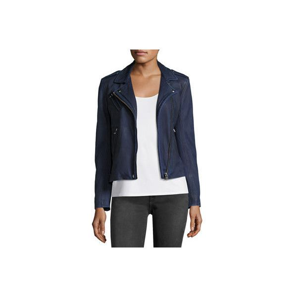 Iro Han Leather Motor Jacket ($1,265) ❤ liked on Polyvore featuring outerwear, jackets, navy, navy blue leather jacket, real leather jackets, motorcycle jacket, leather jackets and fleece-lined jackets