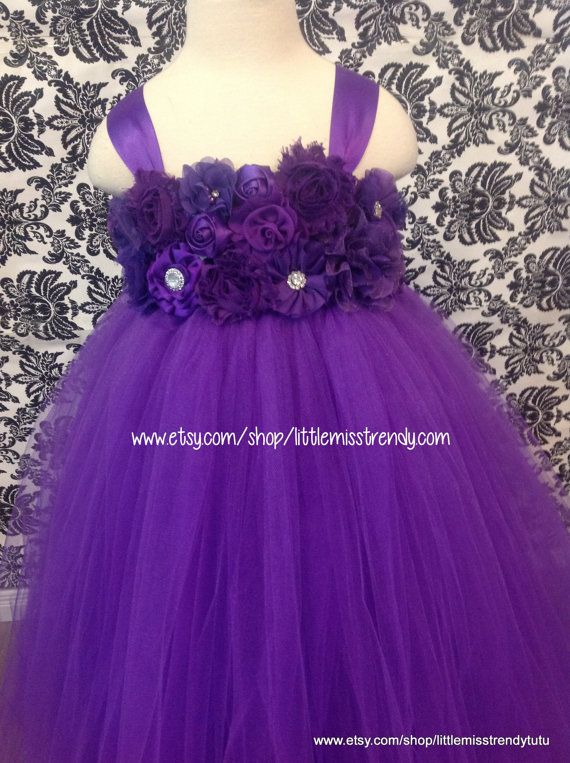 Purple Flower Girl Dress Purple Tutu Dress by LittleMissTrendyTutu