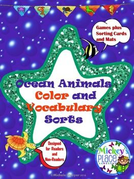 Ocean Animals Color and Vocabulary Sorts will involve your students in recognizing eleven colors and names of ocean animals using the Theme of the Ocean!When students are learning their colors, they need diverse activities to practice their skills.  Ocean Animals Color Sort provides a unique and diversified way for them to accomplish this goal.  ====================================================INCLUDED IN THIS PACKET Eleven Colors:  red, blue, yellow, green, orange, purple, brown, black…