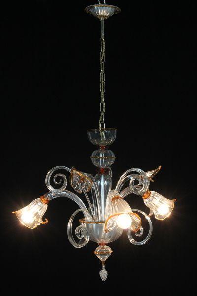 lampadario ricciolo : Lampadario Calle trasparenti filo cristallo marrone con 3 bracci, 3 ...