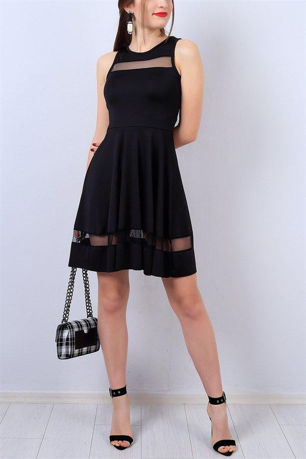 35 95 Tl Siyah Tul Detayli Bayan Elbise 13410b Modamizbir Elbise Moda Stilleri Mankenler