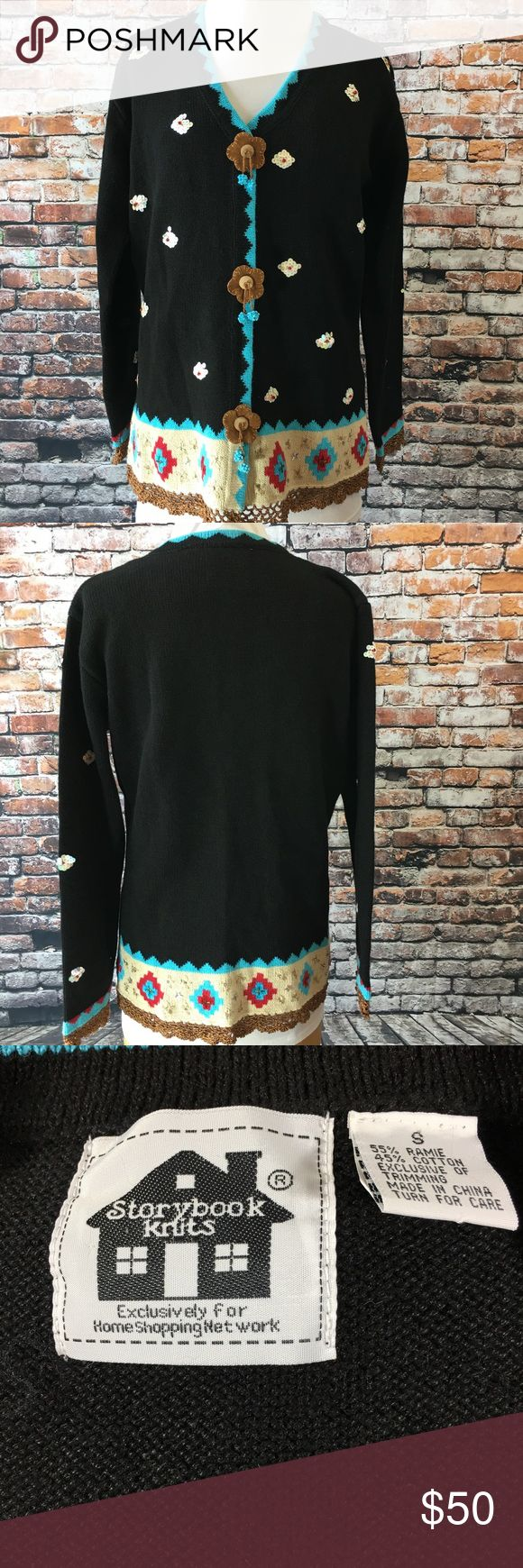 "Storybook Knits HSN Santa Fe Cardigan Concho Storybook Knits by HSN Home Shopping Network Santa Fe Spirit Sweater  Size Small  Heavily embellished with sequins, beading, crochet and (faux?)suede conchos Perfect fall look with jeans and boots Approximate measurements (inches): Bust: 19.5"" (measured flat across front) Sleeves: 21"" Length: 24"" Storybook Knits Sweaters Cardigans"