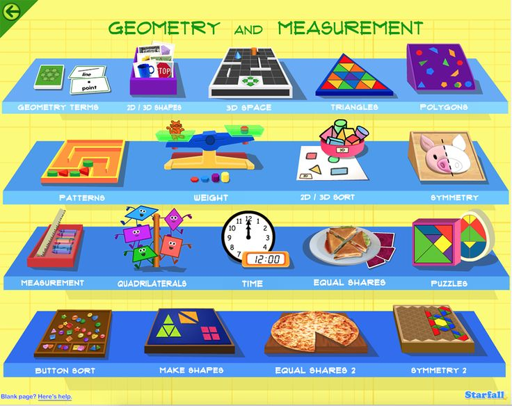 Check out the great geometry and measurement activities on Starfall.com!