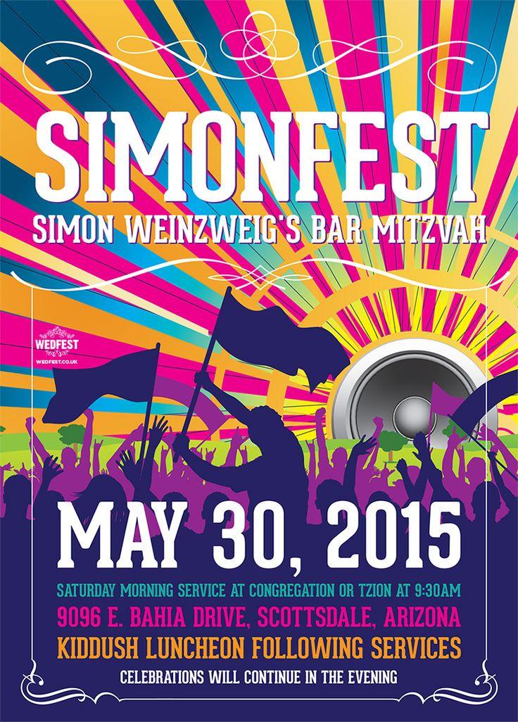 Festival Themed Bar Mitzvah Invites - http://www.wedfest.co/festival-themed-bar-mitzvah-invites/