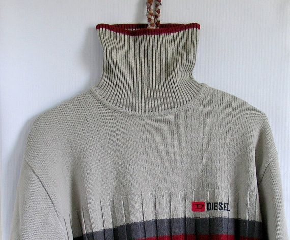 90s Diesel men's turtleneck sweater Grey Sweater by artwardrobe, $32.00