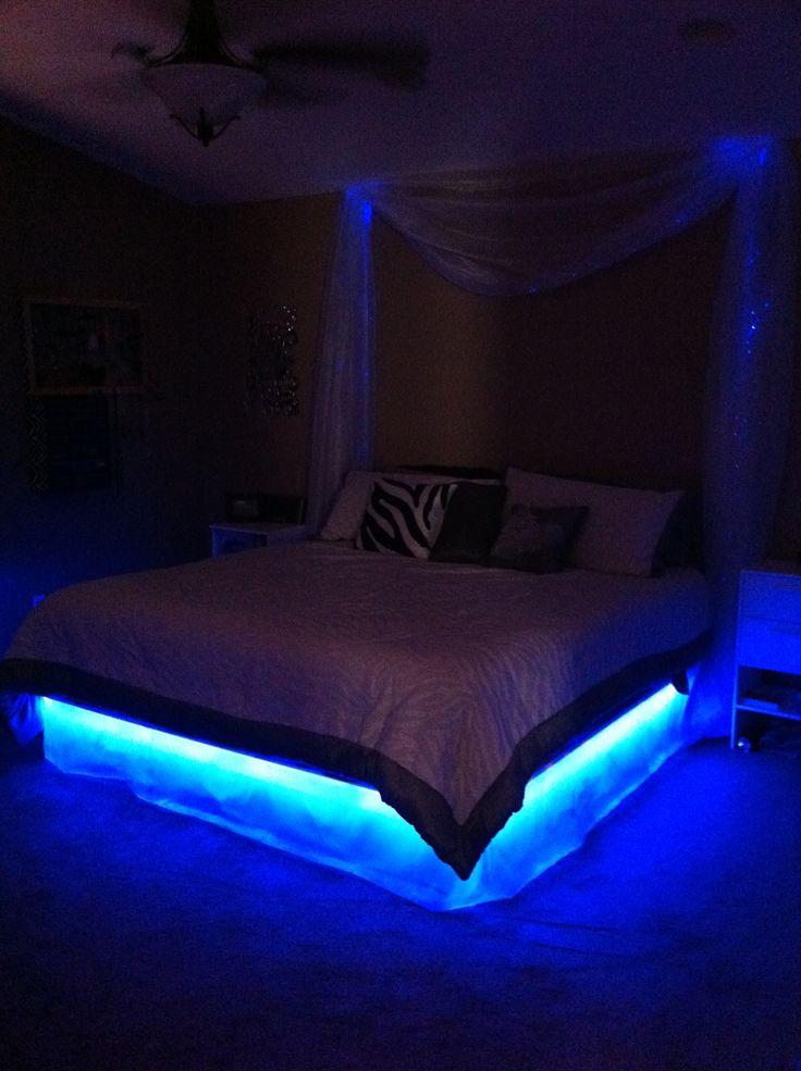 glow bed  fiber optic curtains galaxy bedroom