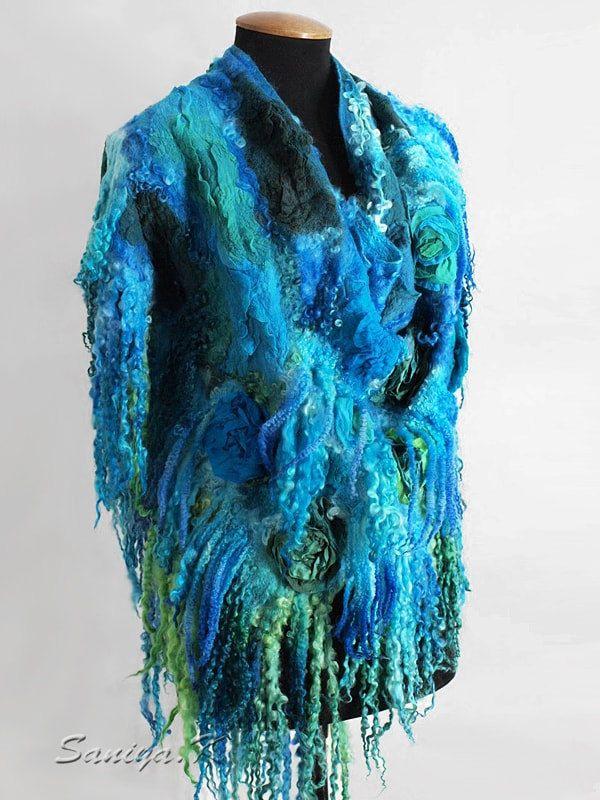 """Shawl felted """"Turquoise"""" by SaniyaK on Etsy"""